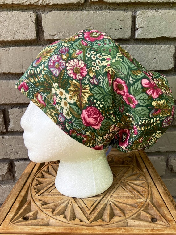 Olive Green Forest Floral Print - Surgical Scrub Cap -Handmade- Euro Pixie Toggle Scrub Hat
