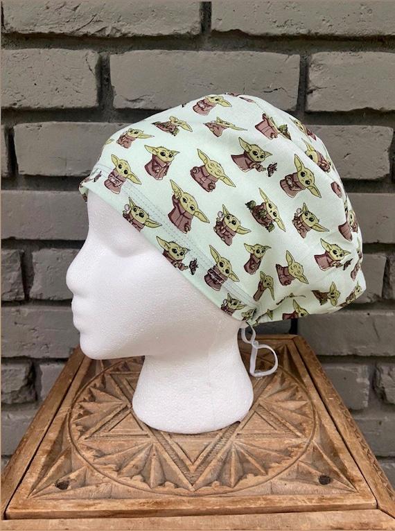 Mandalorian Scrub Cap, Surgical Scrub Cap, Scrub Cap for Woman, Scrub Hats, Euro Scrub Cap for Woman with Toggle, Baby Yoda, Inspired, Grogu