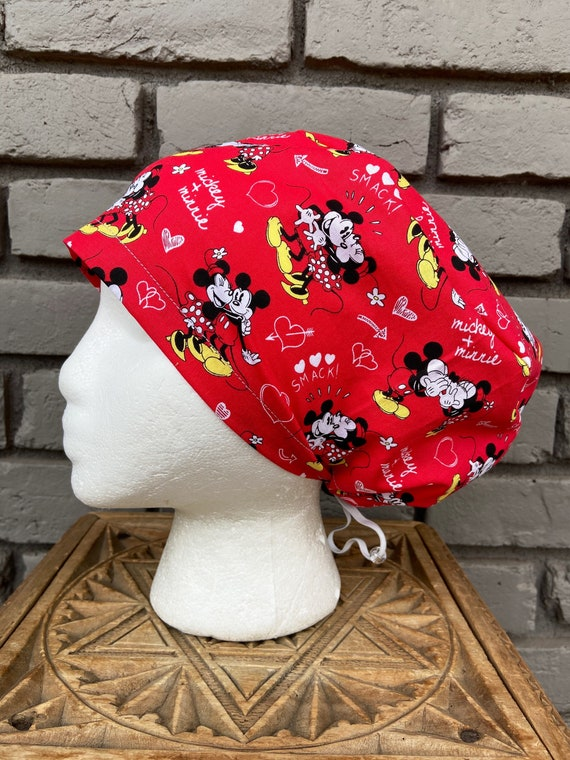 Disney Scrub Cap, Mickey Mouse, Minnie Mouse, Surgical Scrub Cap, Scrub Caps for Women, Scrub Hats, Euro Pixie Toggle Hat