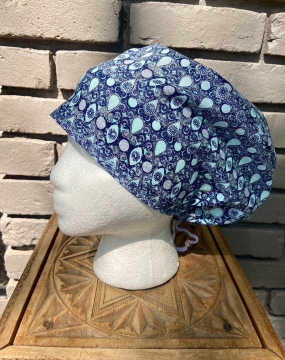 Beautiful Navy, Aqua and Silver Glitter Teardrop Paisley Print - Surgical Scrub Cap -Handmade- Euro Pixie Toggle Scrub Hat