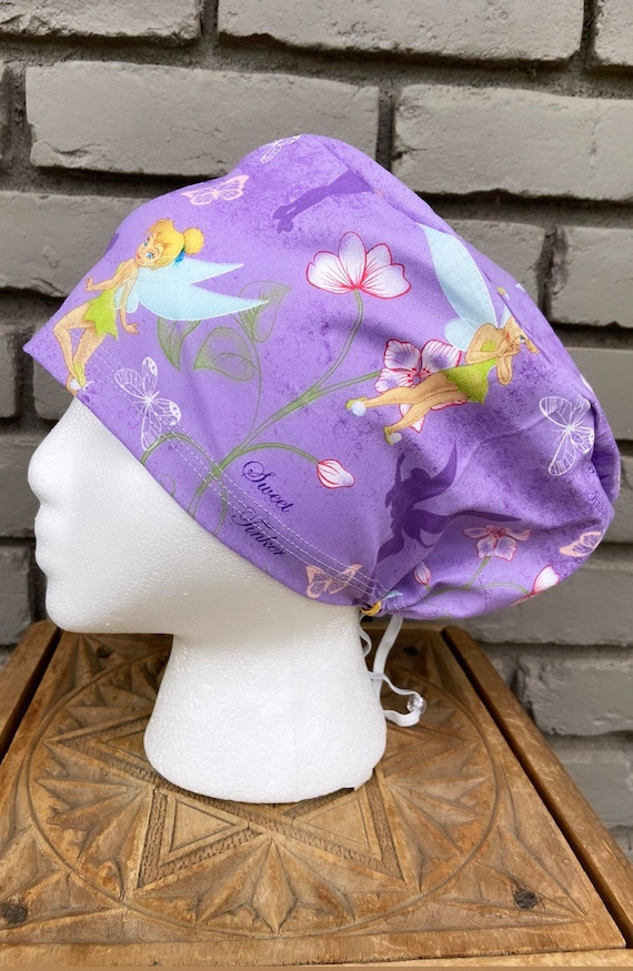 Disney Scrub Cap, Tinkerbell, Surgical Scrub Cap, Scrub Cap for Woman, Scrub Hats, Euro Scrub Cap for Woman with Toggle, Inspired