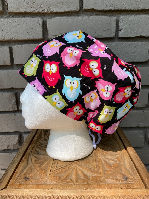 Colorful Owl Print - Surgical Scrub Cap -Handmade- Euro Pixie Toggle Scrub Hat