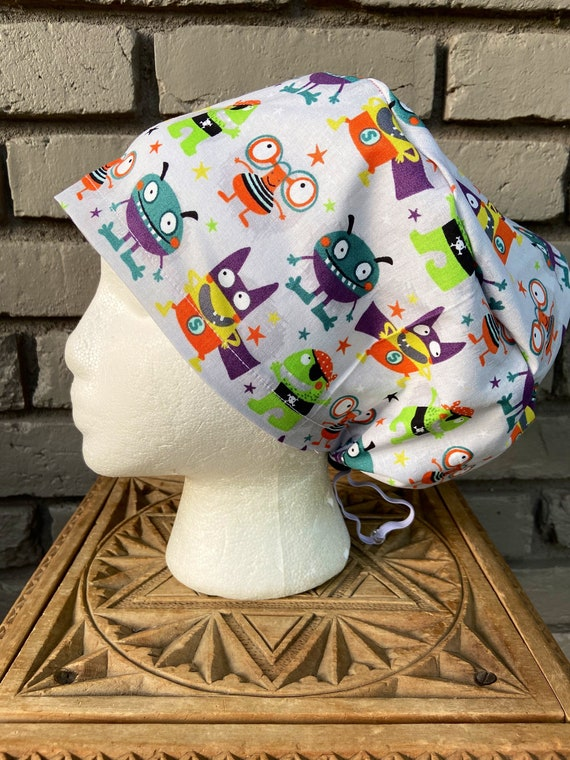 Surgical Scrub Cap -Handmade- Euro Toggle Hat - Halloween Litte Monsters in Costumes