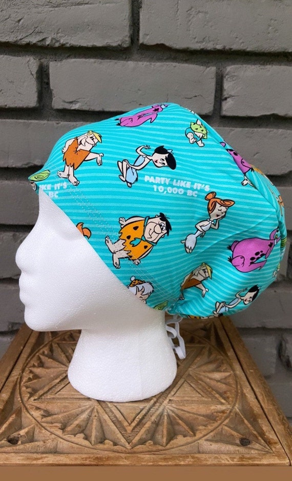Flintstones Scrub Cap, Surgical Scrub Cap, Scrub Cap for Woman, Scrub Hats, Euro Scrub Cap for Woman with Toggle, Inspired