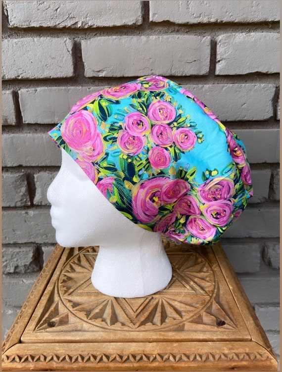 Floral Scrub Cap, Painted Pink Flower, Surgical Scrub Cap, Scrub Caps for Women, Scrub Hats, Euro Pixie Toggle Hat, Light Blue
