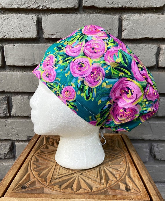 Floral Scrub Cap, Painted Pink Flower, Surgical Scrub Cap, Scrub Caps for Women, Scrub Hats, Euro Pixie Toggle Hat