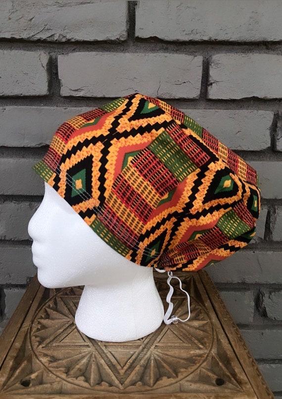 African Wax Scrub Hat, Colorful Scrub Cap, Surgical Scrub Cap, Scrub Cap for Woman, Scrub Hats, Euro Scrub Cap for Woman with Toggle,