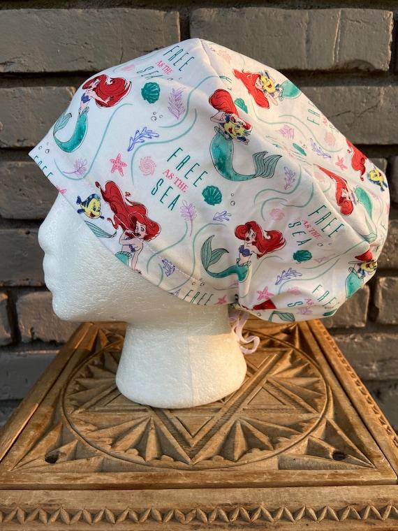 Disney Little Mermaid Print Surgical Scrub Cap -Handmade- Euro Pixie Toggle Hat