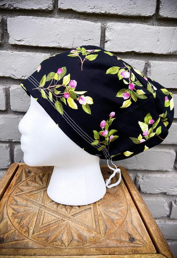Floral Scrub Caps, Tulip, Surgical Scrub Cap, Scrub Cap for Woman, Scrub Hats, Euro Scrub Cap for Woman with Toggle