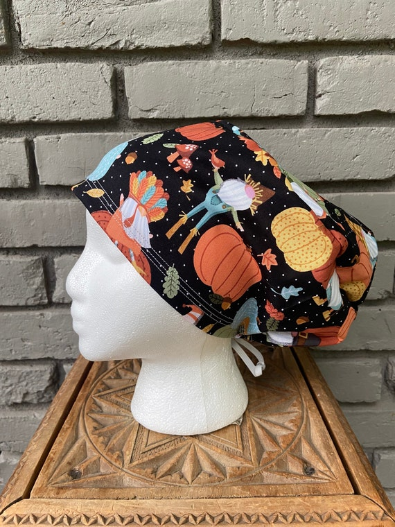 Fall Scrub Cap, Gnomes , Surgical Scrub Cap, Scrub Caps for Women, Scrub Hats, Euro Pixie Toggle Hat, Halloween