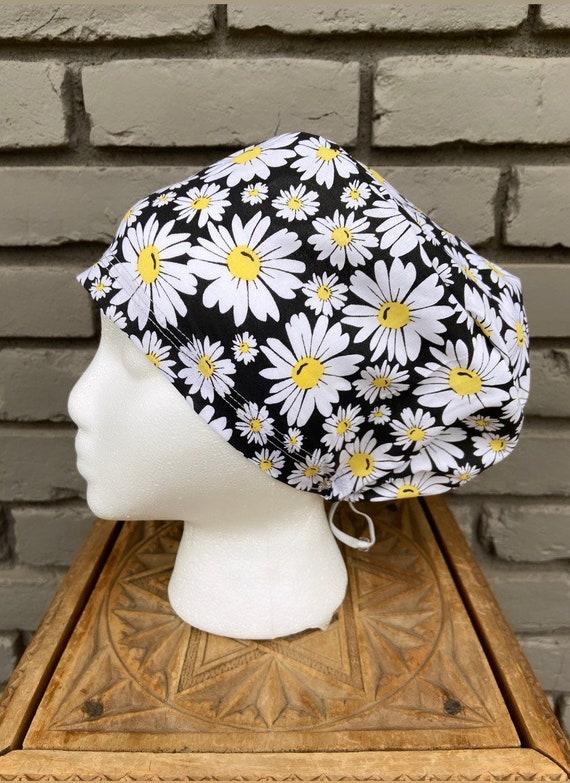 Daisy Scrub Cap, Surgical Scrub Cap, Scrub Cap for Woman, Scrub Hats, Euro Scrub Cap for Woman with Toggle