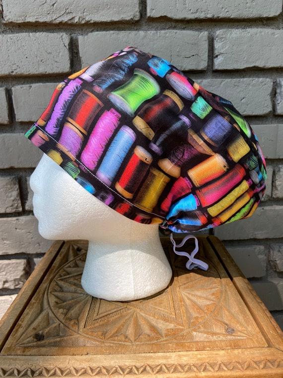 Bright Colorful Thread Spool Print - Surgical Scrub Cap -Handmade- Euro Pixie Toggle Scrub Hat