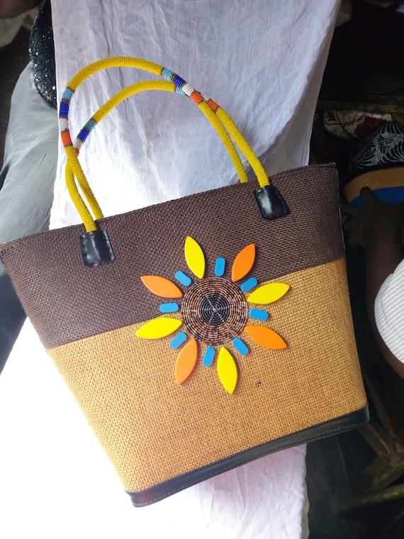 NEW Handmade In Kenya African Bag // Handbag // Tote with Masai Beads