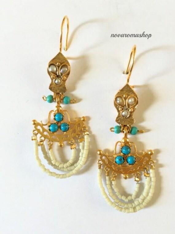 Semi Precious Stone Chalcedony And Brass Dangle Earrings