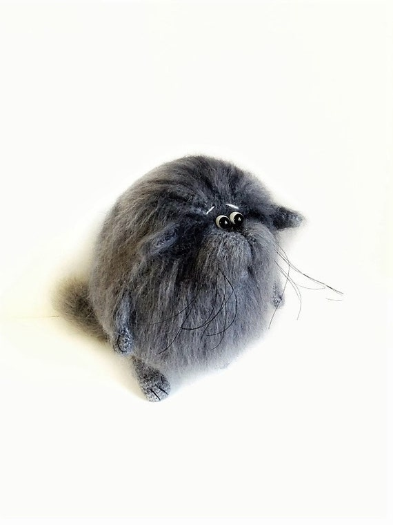 Cat Stuffed Animal As Hairy Soft Sculpture For Crazy Cat Lady Etsy
