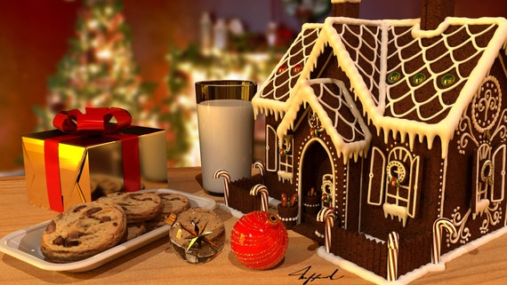 Christmas Gingerbread House Background.Gingerbread House Background