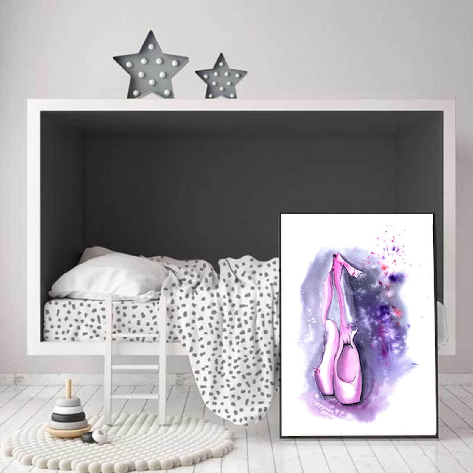 pointe shoes watercolor print, nursery wall art, nursery decor, ballet prints, baby girl wall decor, children's art prints,