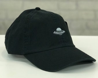 eaac45afaa5 New Retro Style Embroidered Black Dad Cap with UFO Spaceship Mens Womens  Unisex