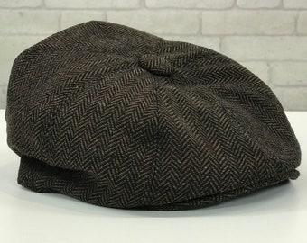 aa028bcb2ff894 Classic New Brown Herringbone Patterned Newsboy Cap Hat