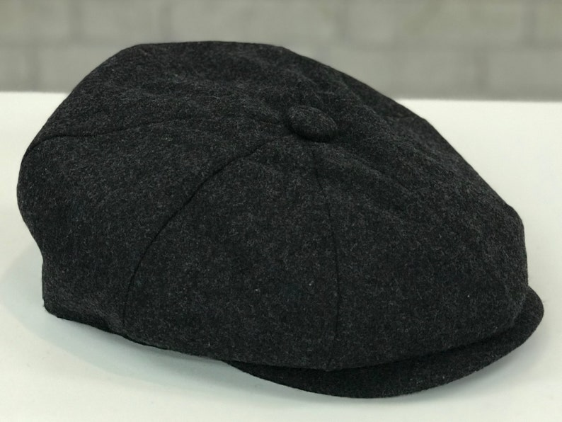 927b8abeb Classic Dark Charcoal Wool Blend Newsboy Cap Mens