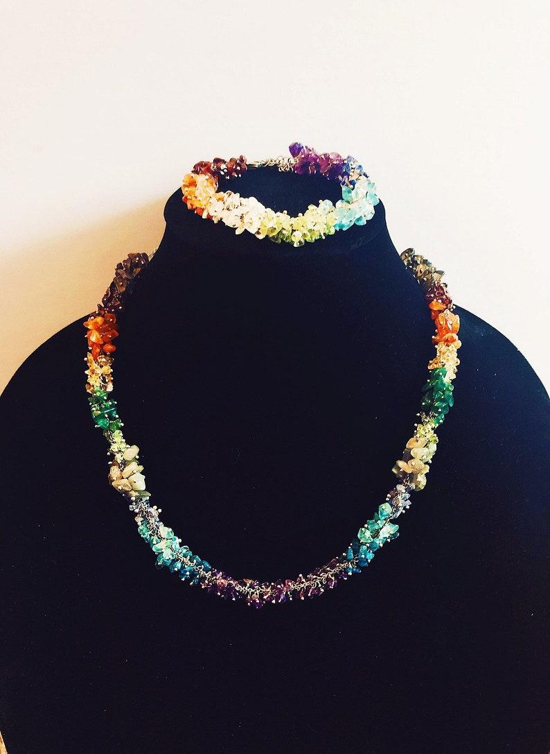 Jewelry set women/'s gift girls gift trendy jewellry handmade jewelry Multi color gemstone necklace and bracelet set bohemian style