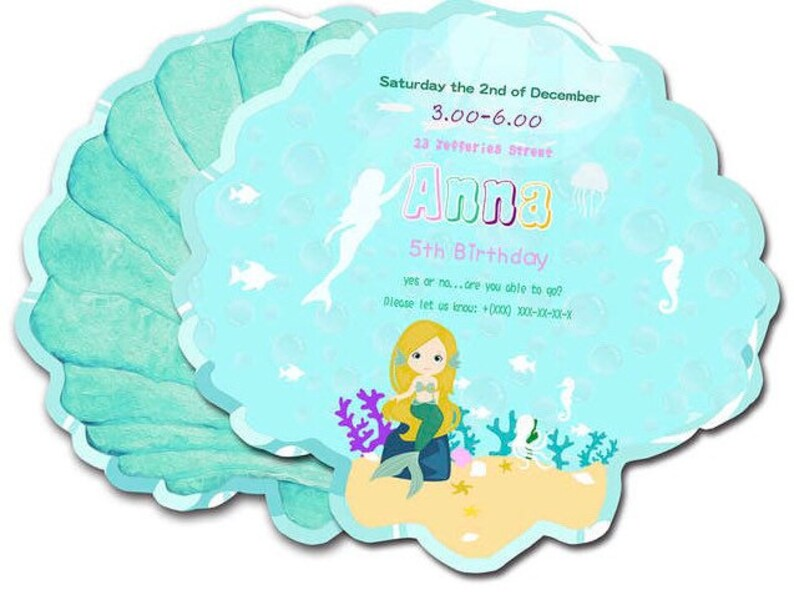 16 pieces Mermaid theme birthday party invitation cards