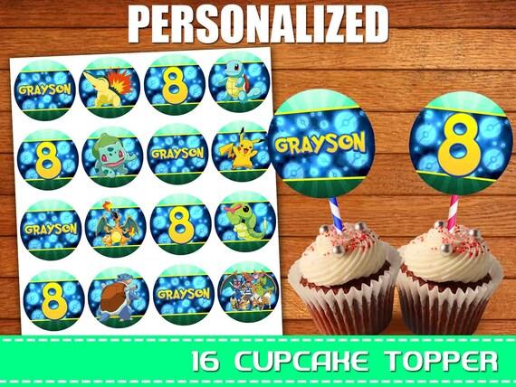 Peachy Pokemon Cupcake Toppers Pokemon Birthday Cupcake Toppers Etsy Funny Birthday Cards Online Eattedamsfinfo
