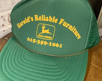 Vintage Harold s Reliable Furniture John Deere Trucker Hat 3657bbee6f99