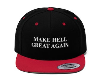 177b45f58a18a Unisex Make Hell Great Again Flat Bill Hat