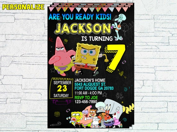 Spongebob Invitations Birthday Party