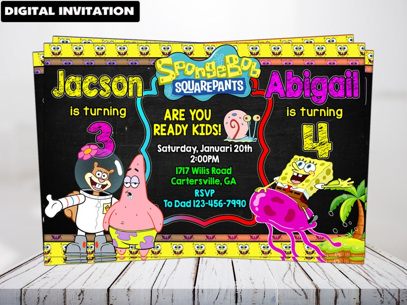 Spongebob Squarepants Invitation Twins Personalized Invitations DIY Digital Item