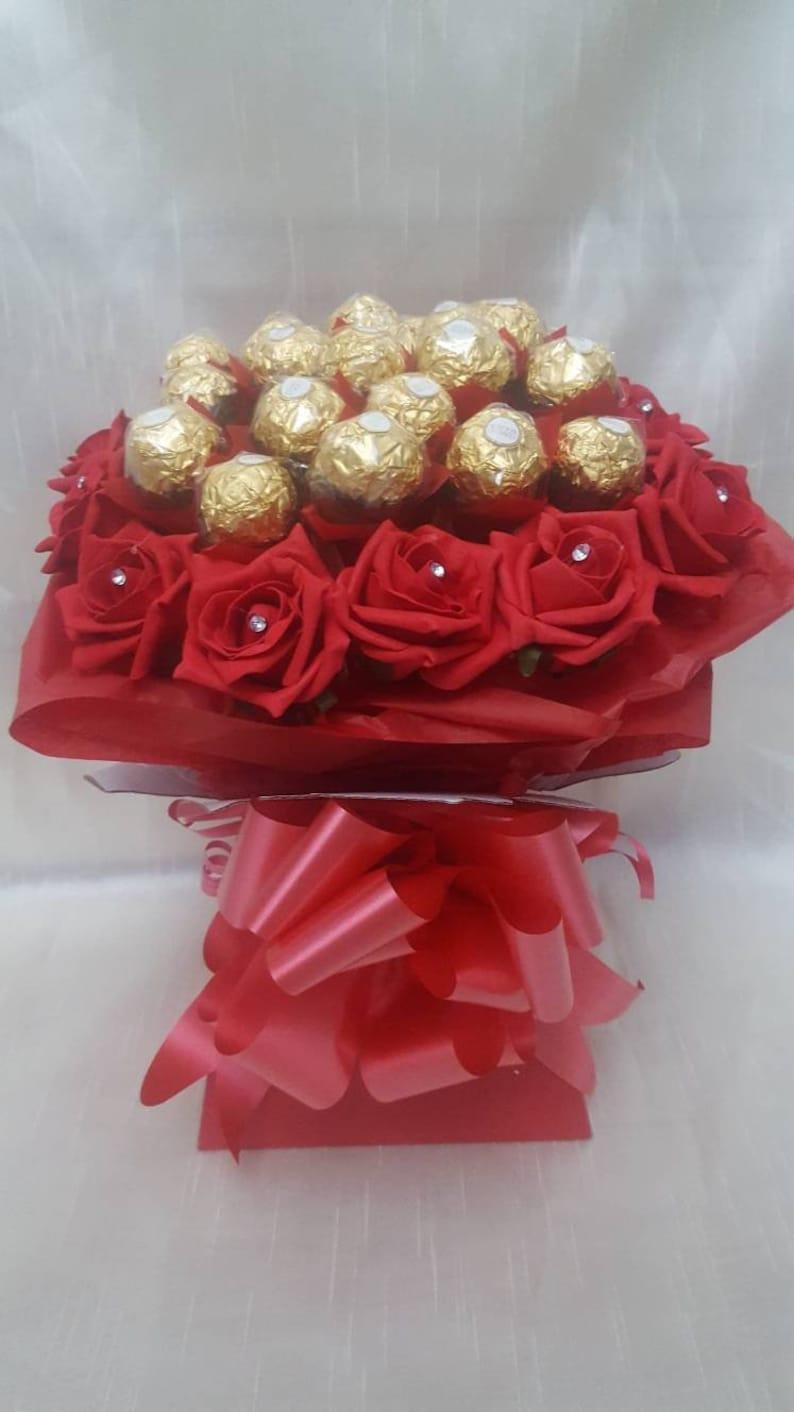 Luxus Rot Ferrero Rocher Pralinen Strauß Süße Geschenkkorb Etsy