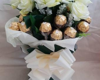 Deluxe Large Cream Silk Flower Ferrero Rocher Chocolates Bouquet - Sweet Gift Hamper