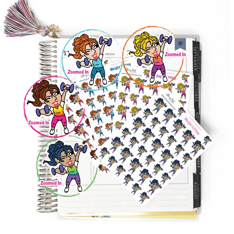 Weight Lifting, mini stickers workout series / Great for Erin Condren  LifePlanner™, Hobonichi, Filofax, A5, Happy Planner/Calendar