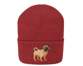 Pug Beanie Hat Embroidered Beanie Cuffed Cap Dog Mom Dog Dad Slouchy Beanie  Messy Bun Beanie Hat Pug Dog Owner Gifts Pet Lovers Lo 8af516462d5