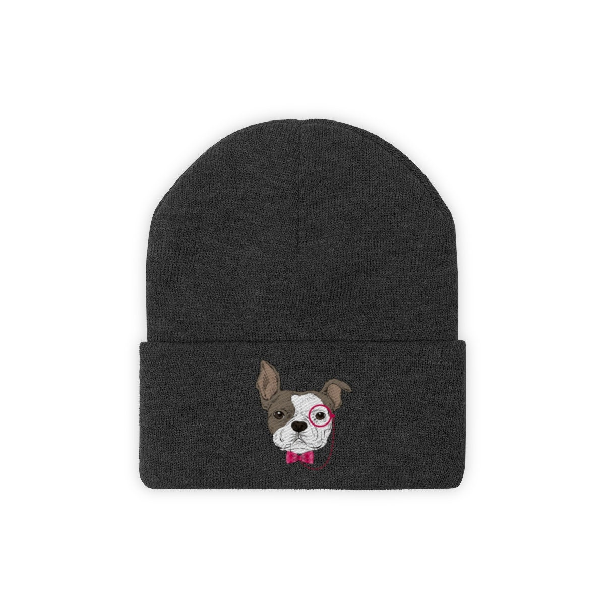 Pug Beanie Hat Embroidered Beanie Cuffed Cap Dog Mom Dog Dad  fd6666e4b2f