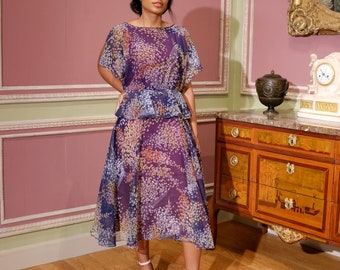 Vintage 70s Floral Chiffon Cocktail Dress / Women's Floral Print Flutter Sleeve Dress / Fit & Flare Peplum Dress / Midi Dress / S /