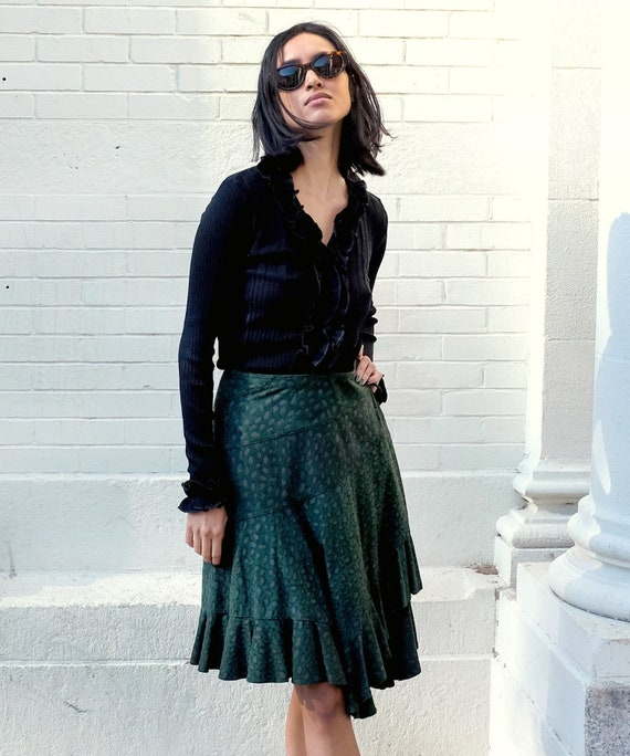 Vintage Suede Wrap Skirt / Vintage Karen Groner Sk