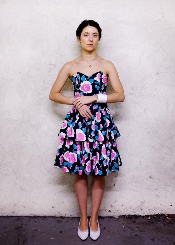 Vintage 80s Laura Ashley Floral Dress / Strapless