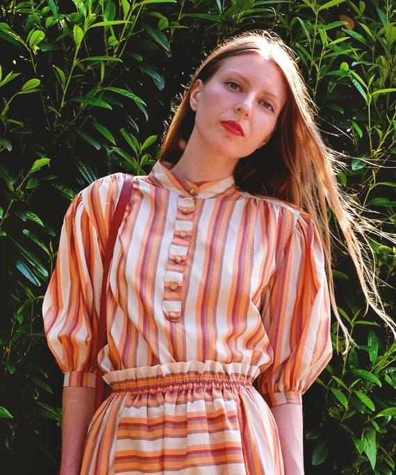 Vintage 70s 2-Piece Skirt Set / Women's Orange and