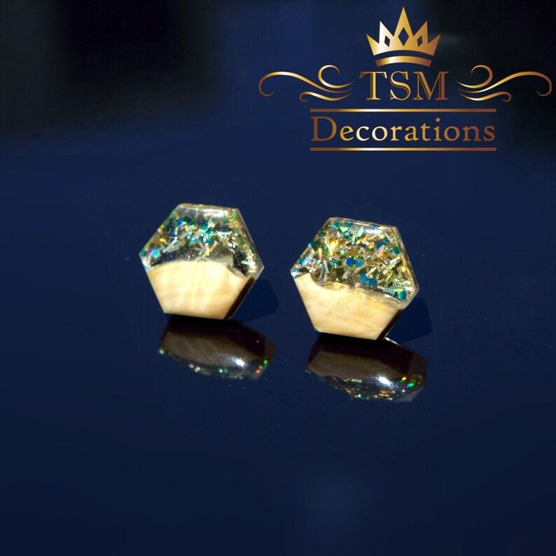 Wood resin earrings Wooden earrings handmade Wooden earrings for woman stud Epoxy resin art earrings Gifts for mom