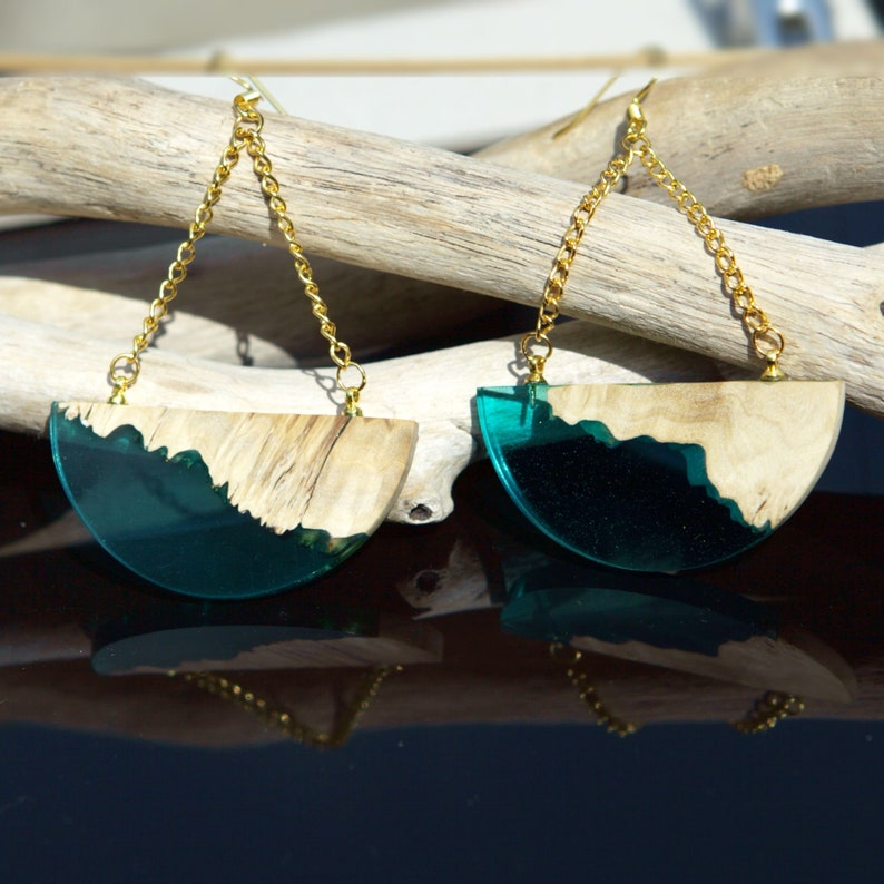 Wood Resin Turquoise Semicircle Dangle Earrings anniversary gift for women