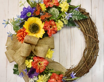Silk Flower Wreath Etsy