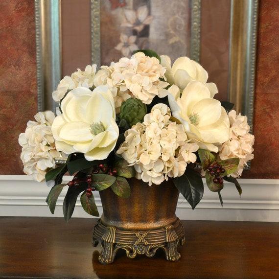 Magnolia Silk Floral Hydrangea Centerpiece In Vase Etsy