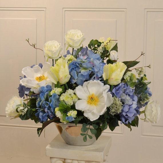 Blue And White Silk Flower Arrangement In Silver Vase Etsy