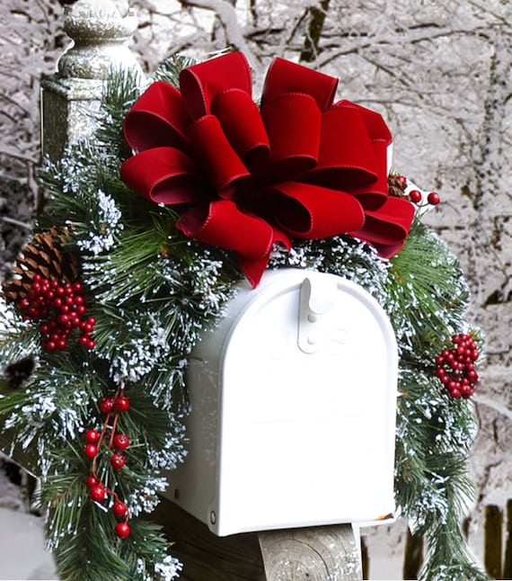 Snow Flocked Holiday Mailbox Swag With Red Velvet Ribbon Christmas Mailbox Cover Holiday Decor Christmas Mailbox Swag