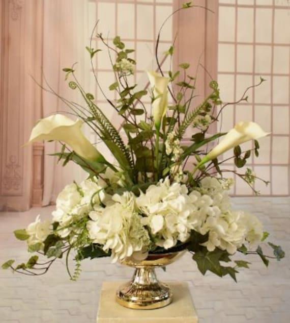 White Silk Hydrangea And Calla Lily Arrangement Silk Floral Etsy