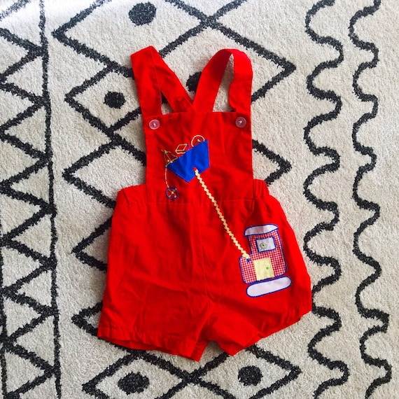 Boys 18m 1970s Red Cotton Shorts Overalls
