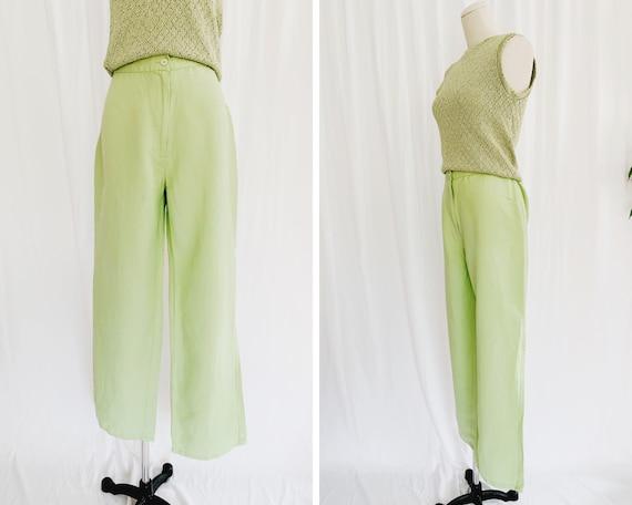 M/L Linen Blend Lime Green Pants