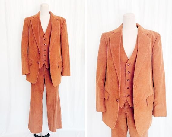 70s Three Piece 40R Sears Corduroy Suit